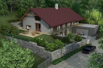 vizualizace rodinného domu a terénních úprav Hlásná Třebáň