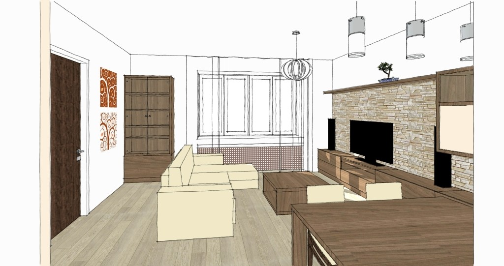 návrh interiéru bytu v Praze - Podolí