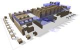 hmotový model dispozičního řešení knihovny