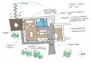 skica dispozičního řešení přestavby stodoly