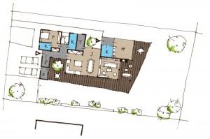 skica dispozičního řešení vilového domu