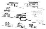 koncepční skicy domu ve svahu