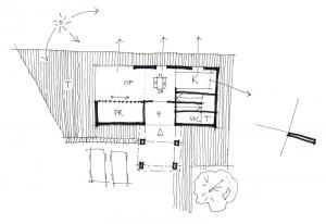 skica dispozičního řešení příměstské vily