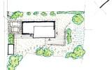 skica řešení parteru pozemku rodinného domu