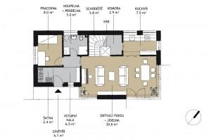 dispoziční řešení rodinného domu